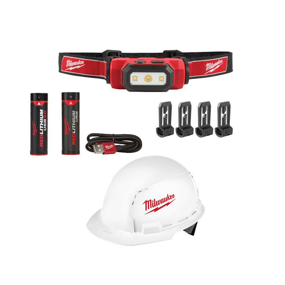 475 Lumens LED Rechargeable Hard Hat Headlamp and BOLT Front Brim Vented Hard Hat w/ Bonus USB 3.0 Ah Battery
