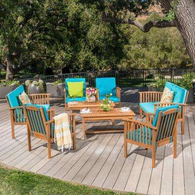 Thalia Brown 8-Piece Wood Patio Conversation Set with Teal Cushions