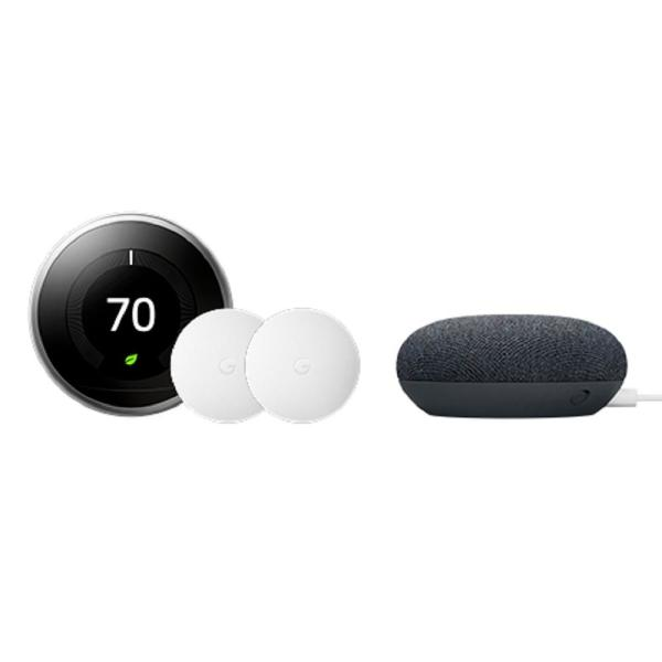 Nest Learning Thermostat 3rd Gen Stainless Steel + Nest Temperature Sensor 2-Pack + Nest Mini Smart Speaker Charcoal