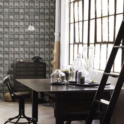 Charcoal Vintage P.O. Boxes Distressed Metal Wallpaper Sample