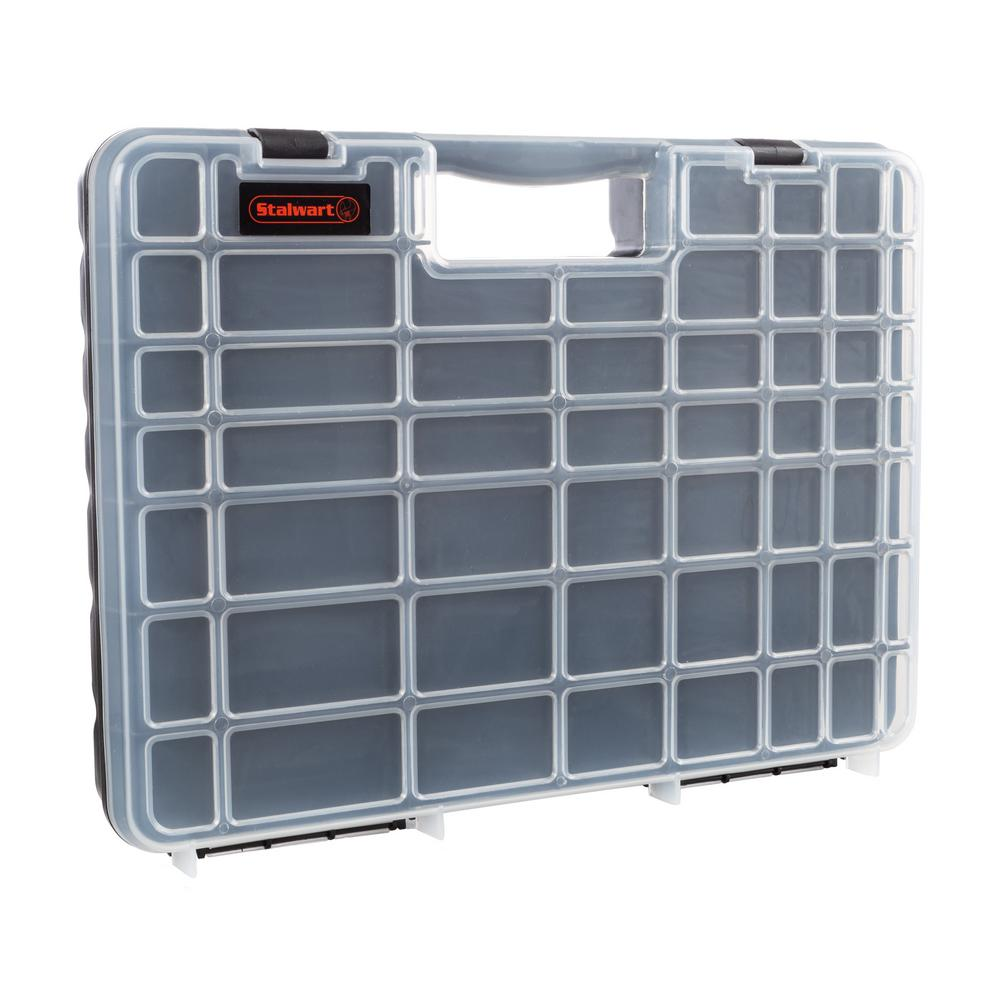 Portable Storage Case with Small Bin Compartments for Hardware and More by Stalwart Screws Bolts Small Parts Organizer with Handle Nuts Nails