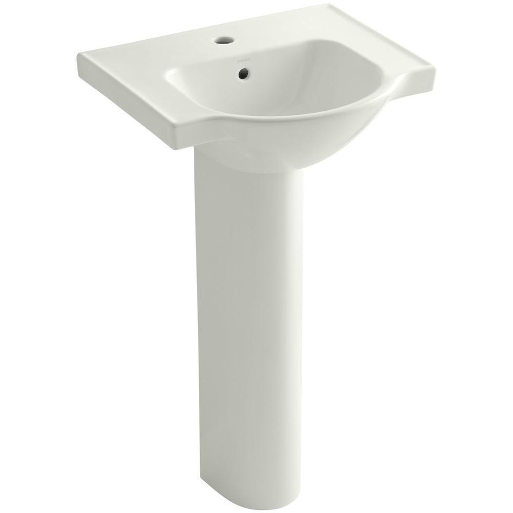 KOHLER Veer Vitreous China Pedestal Combo Bathroom Sink in Dune with Overflow Drain