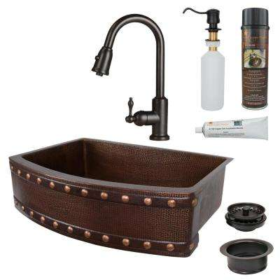 All-in-One Copper 30 in. Single Bowl Rounded Kitchen Farmhouse Apron Front Barrel Strap Sink with Faucet in ORB