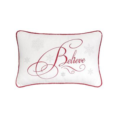 Believe Red Pillow 14 in. x 22 in.