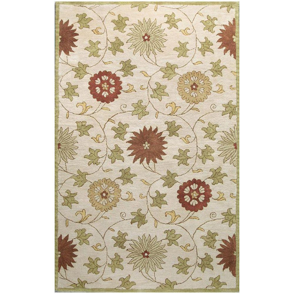 BASHIAN Wilshire Collection Transitions Ivory 7 ft. 9 in. x 9 ft. 9 in. Area Rug