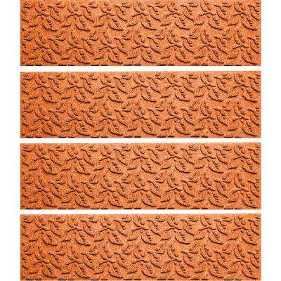 Orange 8.5 in. x 30 in. Dogwood Leaf Stair Tread Cover (Set of 4)
