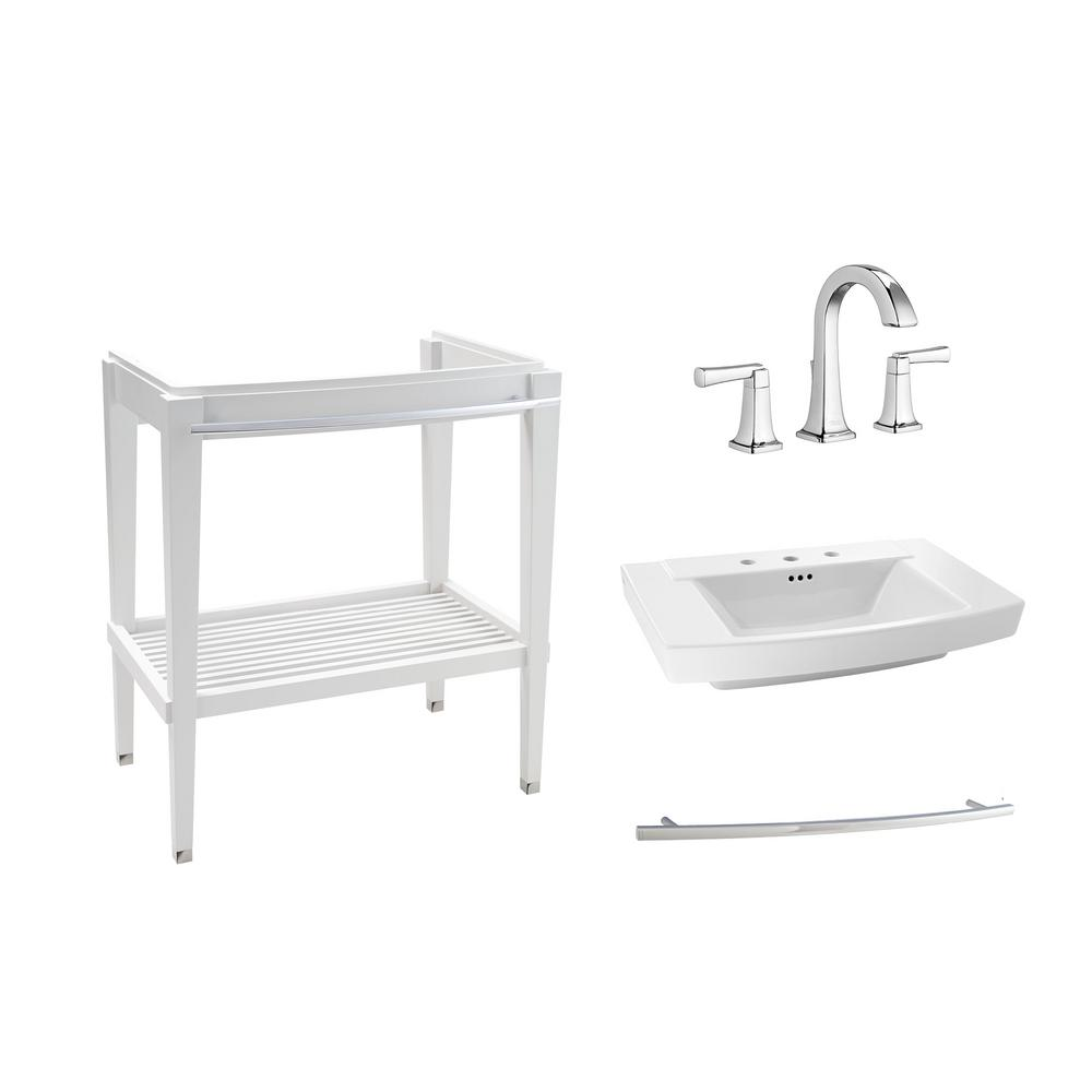 American Standard Townsend 30 in. Bath Washstand in White with Fireclay Vanity Top in White with 8 in. Widespread Faucet in Chrome