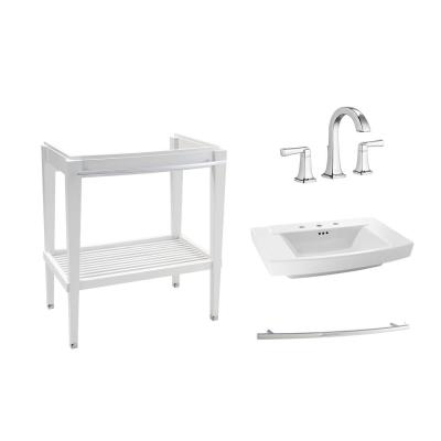 Townsend 30 in. Bath Washstand in White with Fireclay Vanity Top in White with 8 in. Widespread Faucet in Chrome