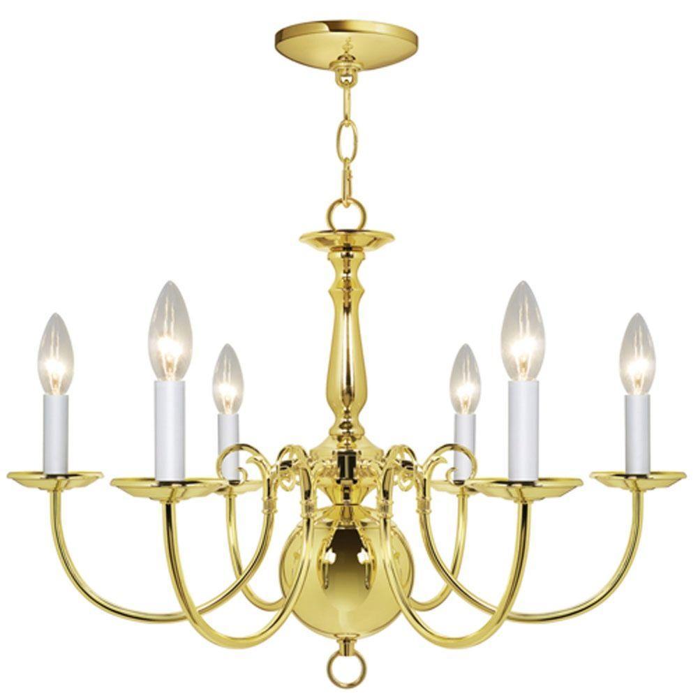 Hampton Bay Williamsburg 6-Light Polished Brass Chandelier-DISCONTINUED