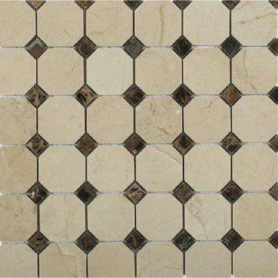 Octagon Crema Marfil with Dark Emperador Dot Squares  12 in. x 12 in. Marble Mosaic Tile (1 sq. ft.)