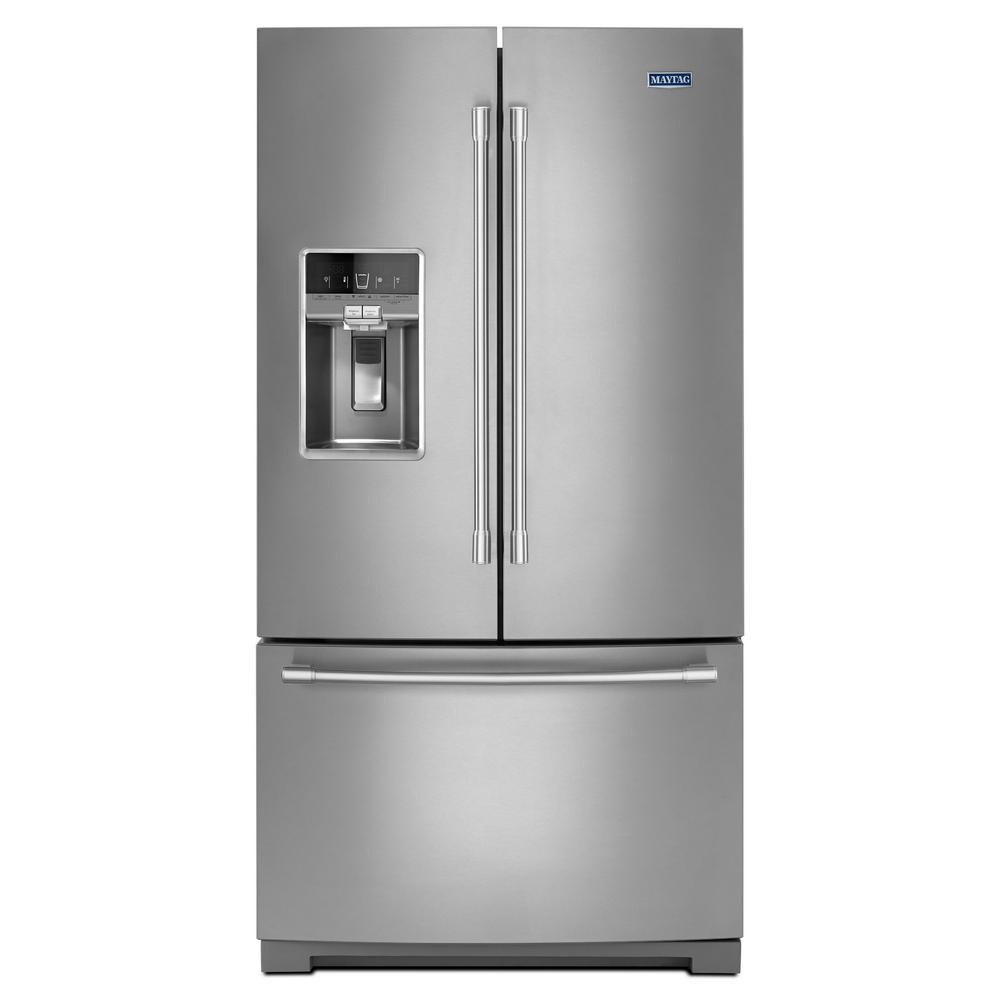 Maytag 27 cu  ft  French Door Refrigerator in Fingerprint Resistant  Stainless Steel