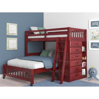 Merlot Twin over Full Solid Pine Loft Bed with Six Drawers