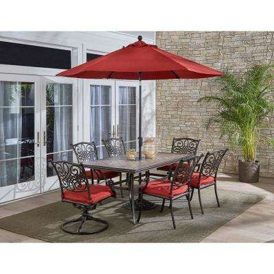 Monaco 7-Piece Aluminum Outdoor Dining Set with Red Cushions (4-Chairs, 2-Swivel Tockers, Tile Table, Umbrella)