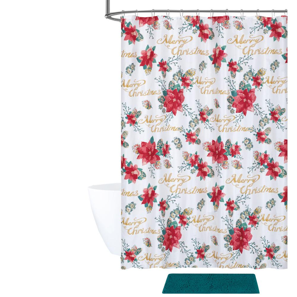 Poinsettia Pinecones Shower Curtain And Bath Rug Set 14 Piece