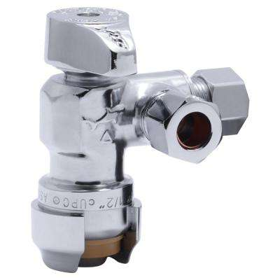 1/2 in. x 3/8 in. x 3/8 in. O.D. Compression Push-to-Connect Dual Stop 1/4-Turn Angle Valve