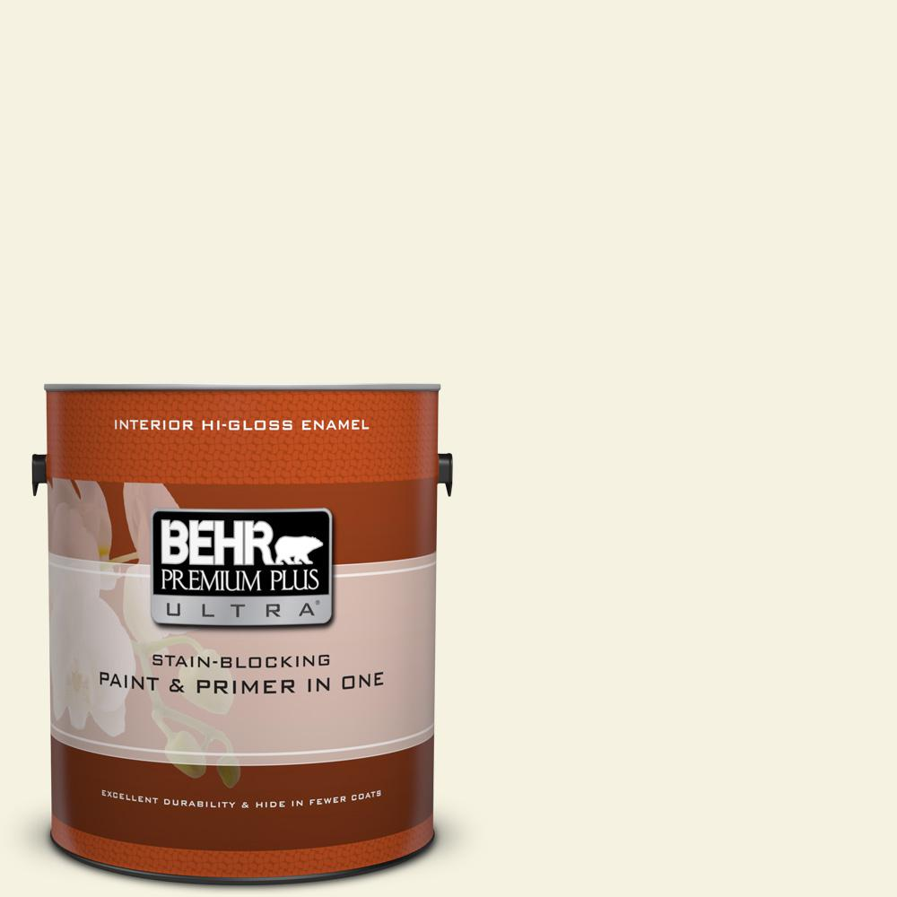 BEHR Premium Plus Ultra 1 gal. #bwc-03 Lively White Hi-Gloss Enamel Interior Paint