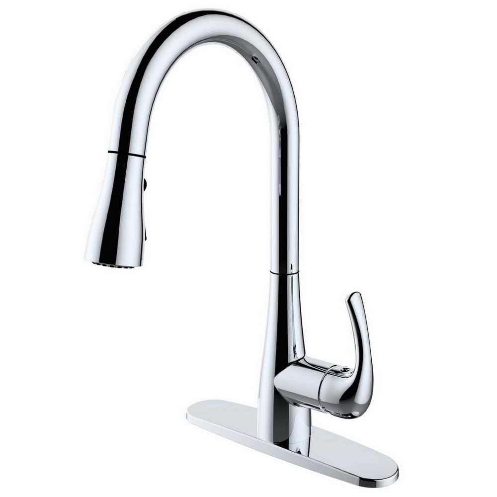 Runfine Single-Handle Pull-Down Sprayer Kitchen Faucet in...