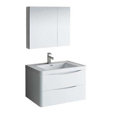 Tuscany 32 in. Modern Wall Hung Bath Vanity in Glossy White w/ Vanity Top in White w/ White Basin and Medicine Cabinet