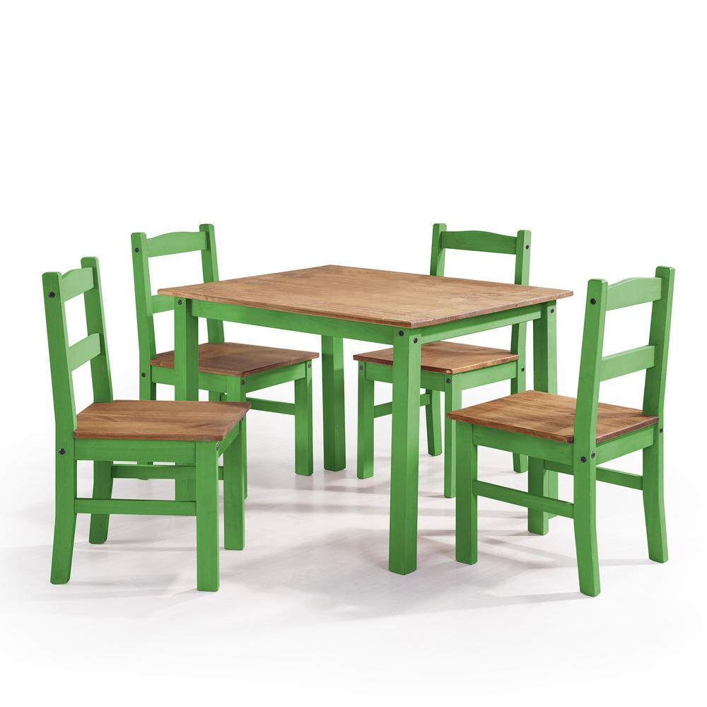 Dining Set For 4: Manhattan Comfort York 5-Piece Green Wash Solid Wood