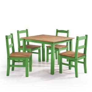 York 5 Piece Green Wash Solid Wood Dining Set With 1 Table And 4 Chairs