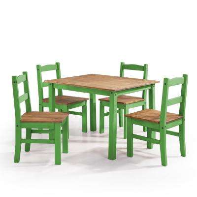 York 5-Piece Green Wash Solid Wood Dining Set with 1-Table and 4-Chairs