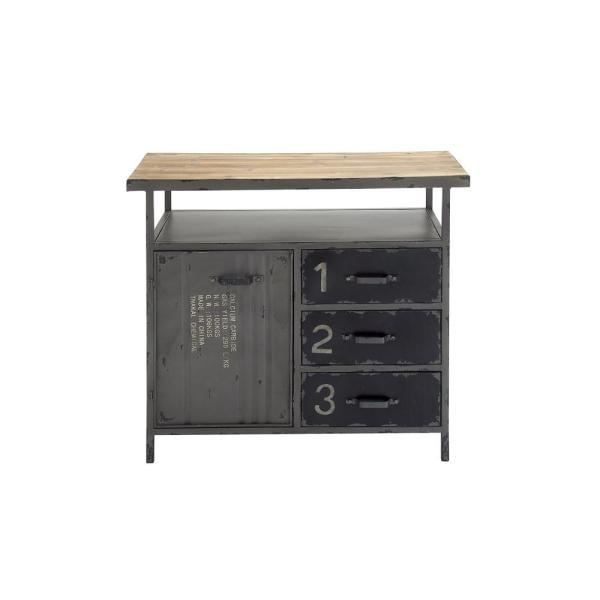 Charmant Gray Industrial Metal And Wood Utility Cabinet