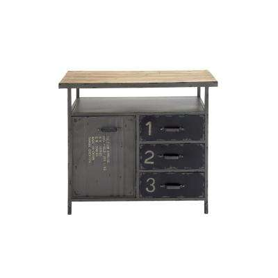 Gray Industrial Metal and Wood Utility Cabinet