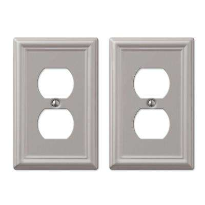 Ascher 1 Gang Duplex Steel Wall Plate - Brushed Nickel (2-Pack)