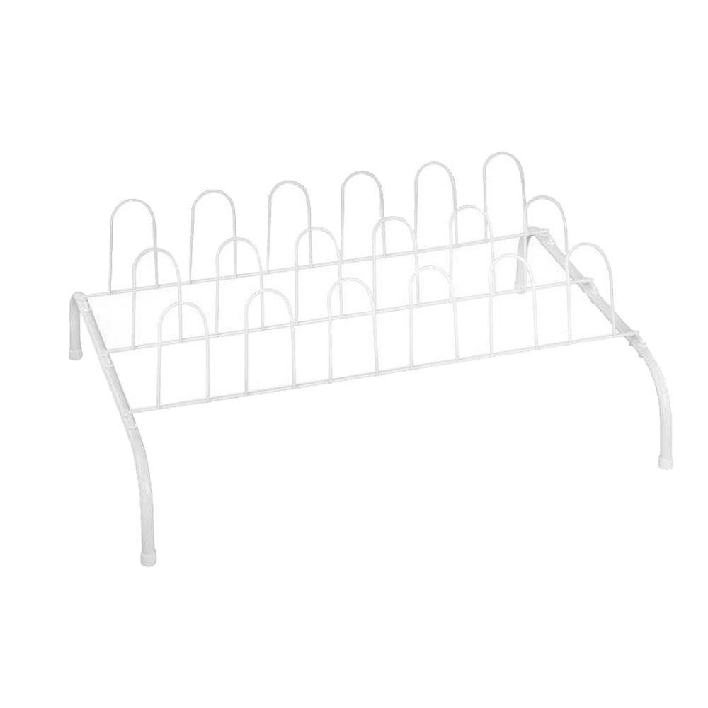9-Pair Steel Floor Shoe Rack in White