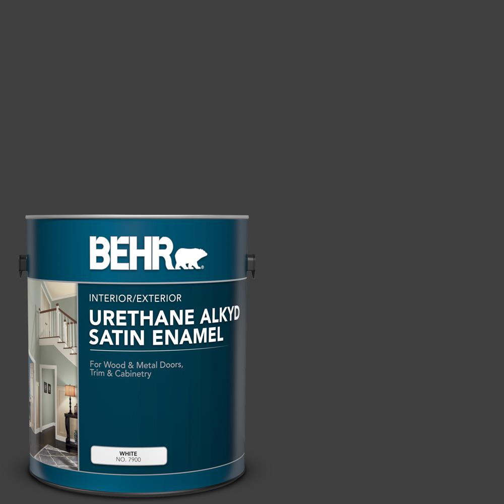 BEHR 1 gal. #1350 Ultra Pure Black Urethane Alkyd Satin Enamel Interior/Exterior Paint