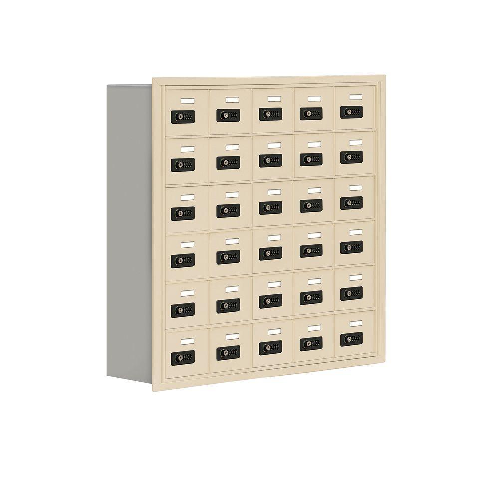 19000 Series 37 in. W x 36.5 in. H x 8.75 in. D 30 A Doors R-Mount Resettable Locks Cell Phone Locker in Sandstone