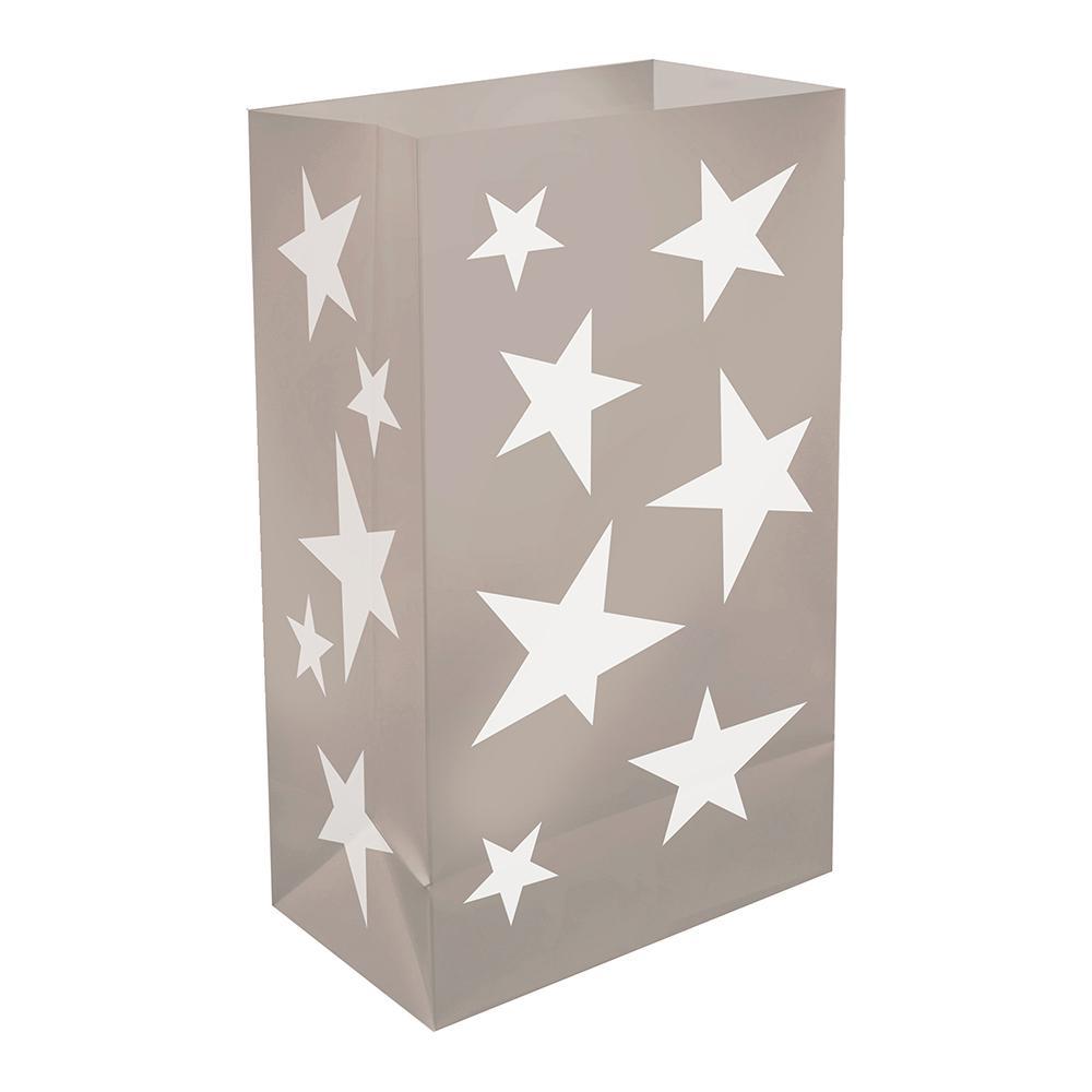 Plastic Luminaria Silver Stars Bags (12-Count)