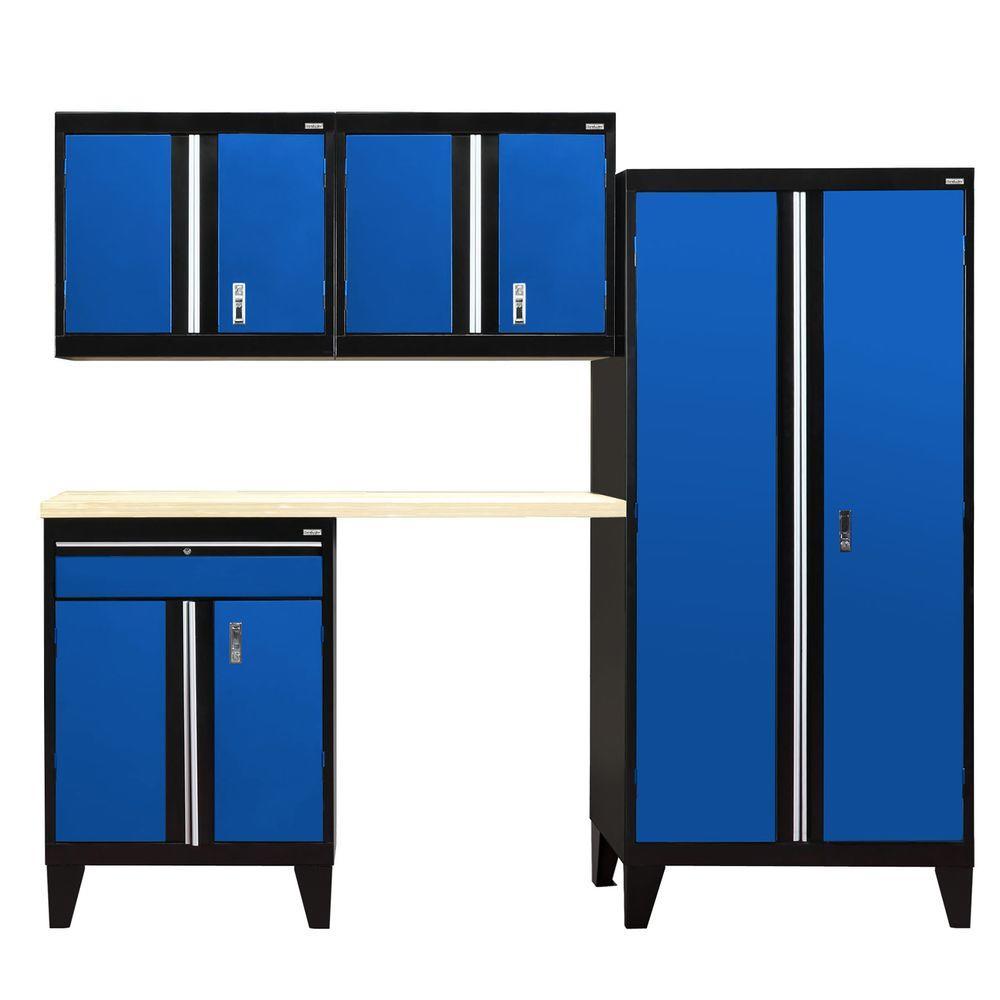 79 in. H x 96 in. W x 18 in. D Modular Garage Welded Steel Cabinet Set in Black/Blue (5-Piece)