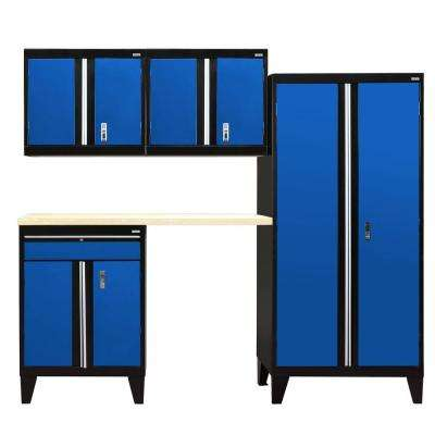 79 in. H x 96 in. W x 18 in. D Modular Garage Welded Steel Storage System in Black/Blue (5-Piece)