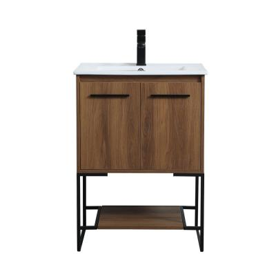 Timeless Home 24 in. W x 18.31 in. D x 33.46 in. H Single Bathroom Vanity in Walnut Brown with Porcelain
