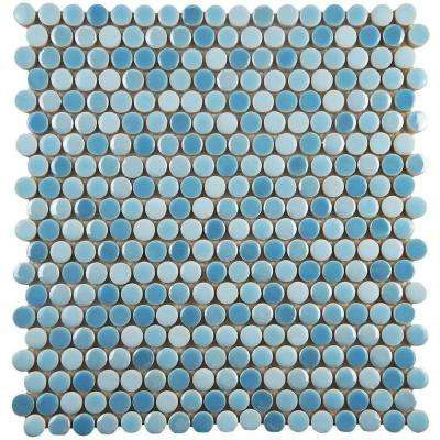 Galaxy Penny Round Oceano 11-1/4 in. x 11-3/4 in. x 9 mm Porcelain Mosaic Tile