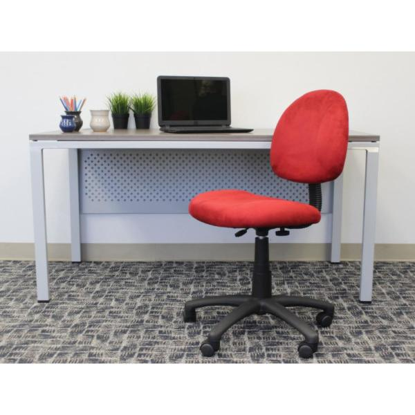 Boss Office Homepro Armless Task Chair Red Microfiber Fabric Pnuematic Lift B325 Rd The Home Depot