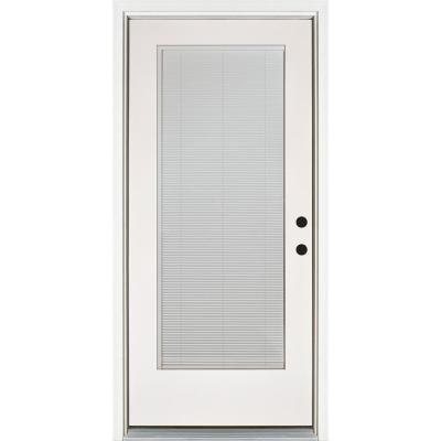 36 in. x 80 in. Smooth White Left-Hand Inswing Full-Lite Blinds Glass Finished Fiberglass Prehung Front Door