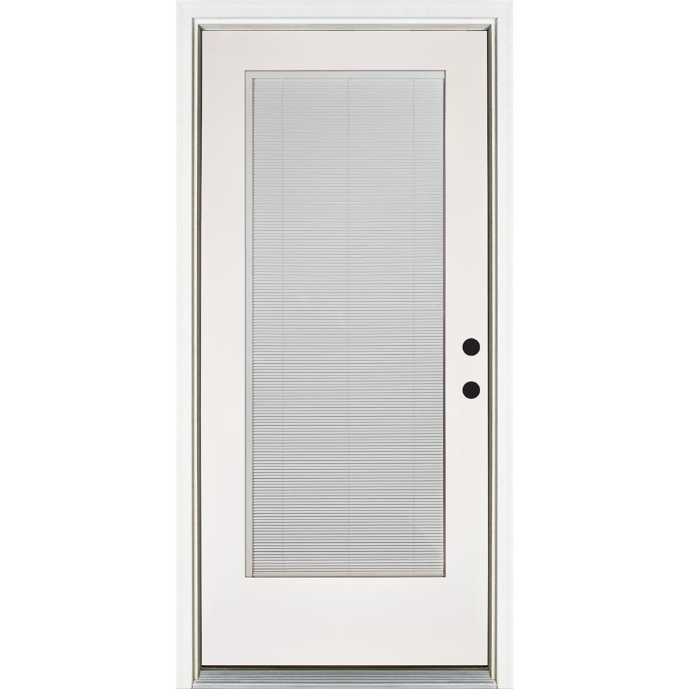 MP Doors 36 in. x 80 in. Smooth White Left-Hand Inswing Full-Lite Blinds Glass Finished Fiberglass Prehung Front Door