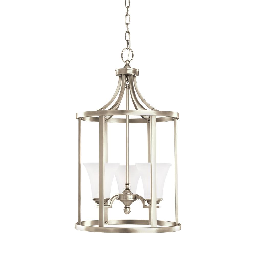 3 Light Led Ceiling Pendant Brushed Nickel Contemporary: Sea Gull Lighting Somerton 3-Light Antique Brushed Nickel