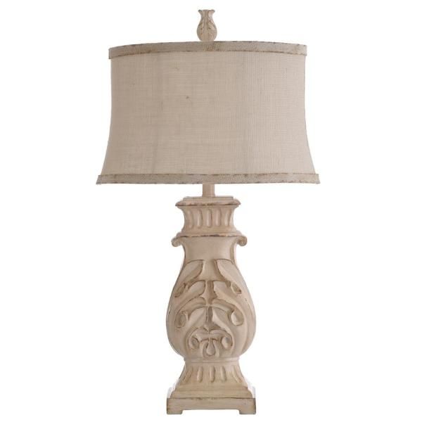 Distressed Antique White Table Lamp