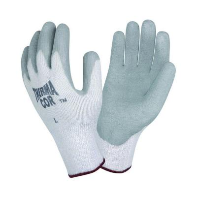 Large Therma-Cor Work Glove Gray Crinkle Latex Gray Thermal Terry Shell