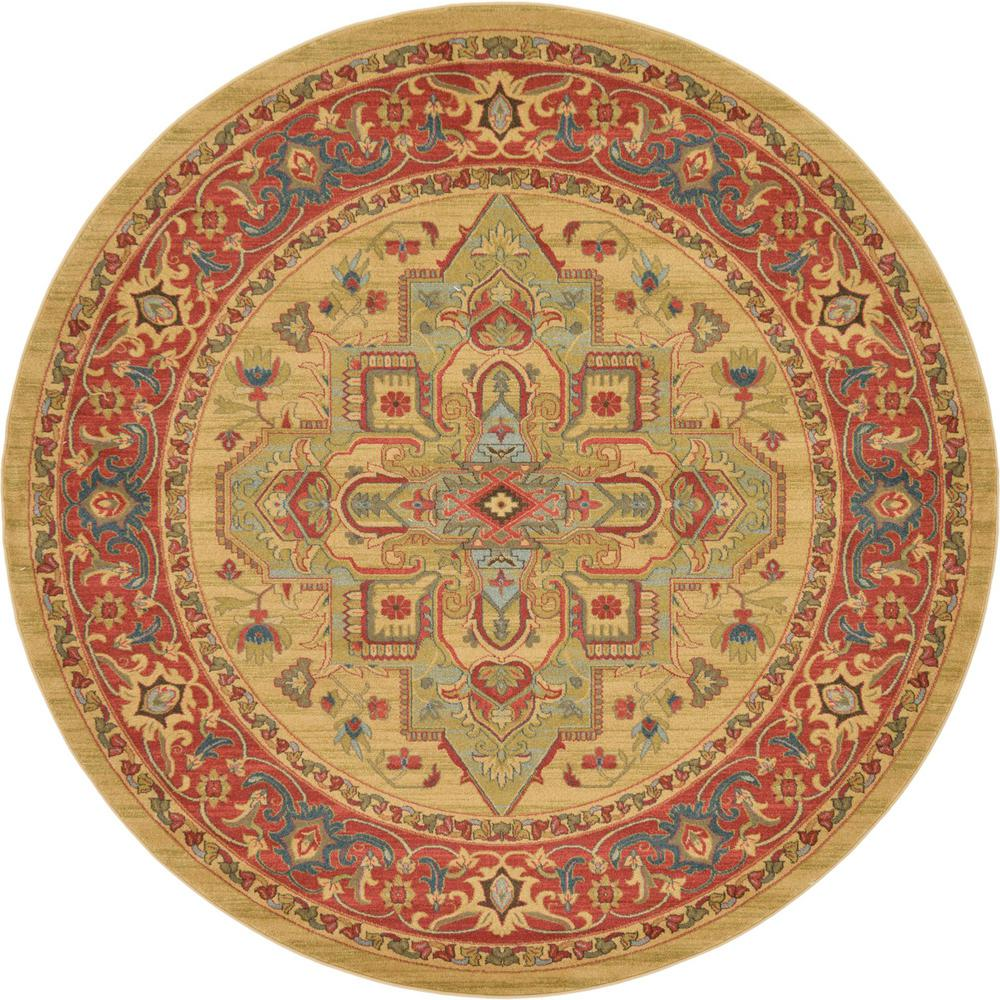 Unique Loom Sahand Arsaces Tan 8' 0 x 8' 0 Round Rug