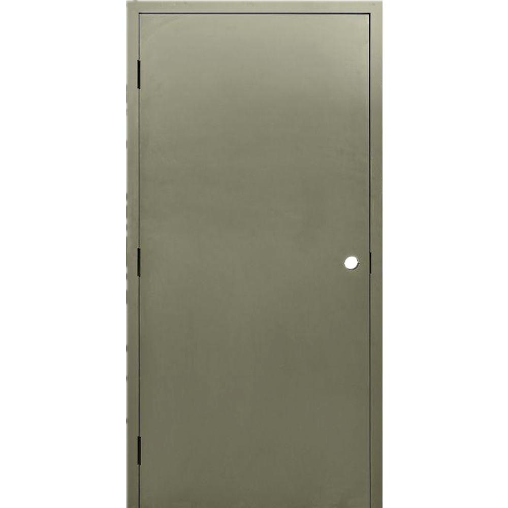 Krosswood Doors 36 In X 84 In Dks Flush Primed Steel Right Hand Outswing Prehung Commercial