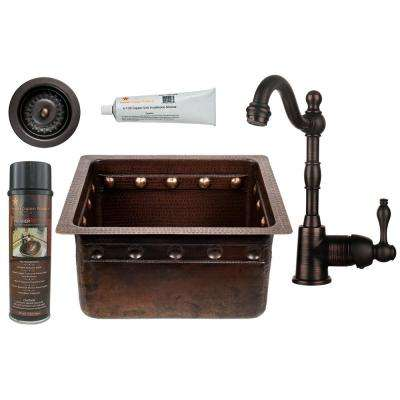 All-in-One Dual Mount Copper 16 in. Single Bowl Barrel Strap Kitchen Sink with Faucet in Oil Rubbed Bronze