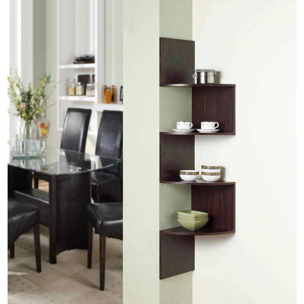11.8 in. x 53.13 in. Hanging Chocolate Wood Corner Wall Storage