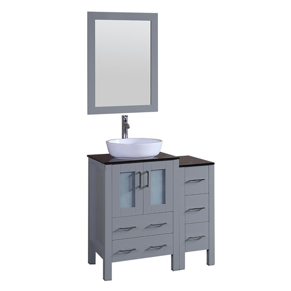 Bosconi 36 in. W Single Bath Vanity with Tempered Glass Vanity Top in Black with White Basin and Mirror