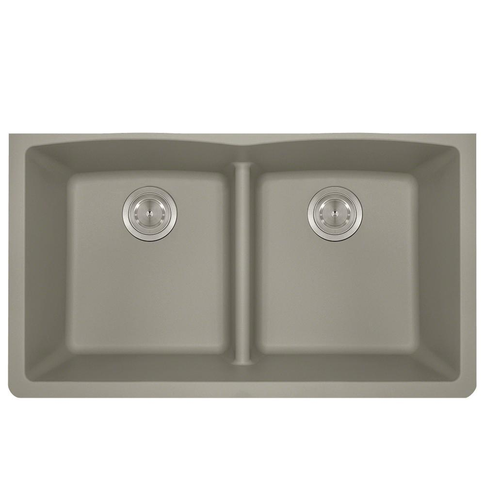Undermount Kitchen Sink Composite Granite 33 In Low Divide Equal Double Basin Slate
