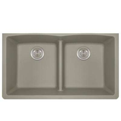 Undermount Kitchen Sink Composite Granite 33 in. Low-Divide Equal Double Basin in. Slate