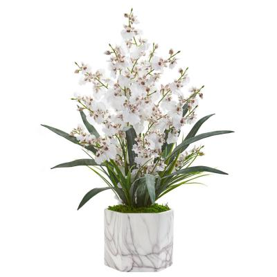 Indoor Dancing Lady Orchid Artificial Arrangement in Marble Finished Vase